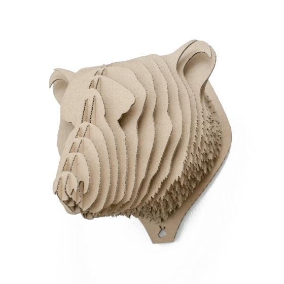 Woytek - cardboard bear trophy. Animal head for self assembly.